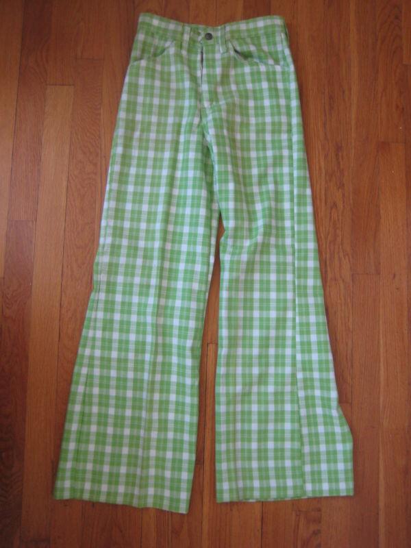 vtg Buster Brown retro green PLAID FLARED PANTS bell bottom kids jeans NOS 14