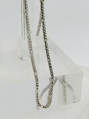 14k White Gold Thin V Pattern Chain Link Box 1.6mm Necklace 18.5