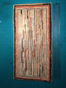 Antique Hooked Rug Small Stripe