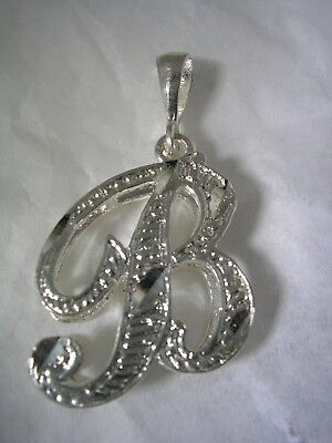 (LETTER B INITIAL PENDANT CHARM WITH A DIAMOND CUT FINISH IN STERLING SILVER)
