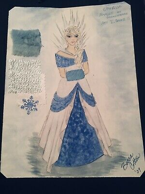 """Artwork-Mounted Watercolor-Costume Design- """"Ophelia"""" From Hamlet - Hamlet Costumes"""