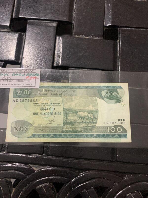 ETHIOPIA 100 BIRR P50 2000 MILLENNIUM OX MICROSCOPE MAP MONEY ANIMAL BANK NOTE