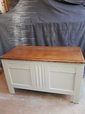 Antique oak blanket chest/coffer. 1930's. Fully restored. Farrow and Ball.