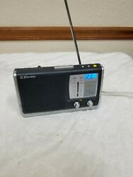 Emerson RP6251 Portable AM/FM Weather Band Clock Radio Battery or Plug-In