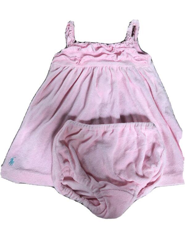 Ralph Lauren Baby Girl 3 Months Light Pink Dress Set Terry Cloth