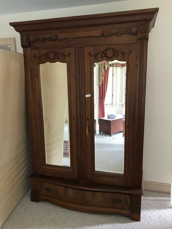 Antique Walnut Victorian Wardrobe / Armoire