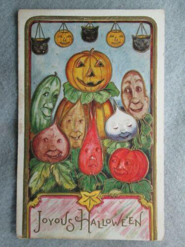 Antique Joyous Halloween Embossed Postcard Vegetable Faces Fantasy 1916