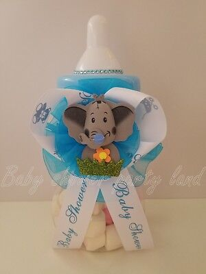 Baby Boy Elephant Baby Shower Decorations (Elephant Centerpiece Bottle Large Baby Shower Piggy Bank It's a Boy)