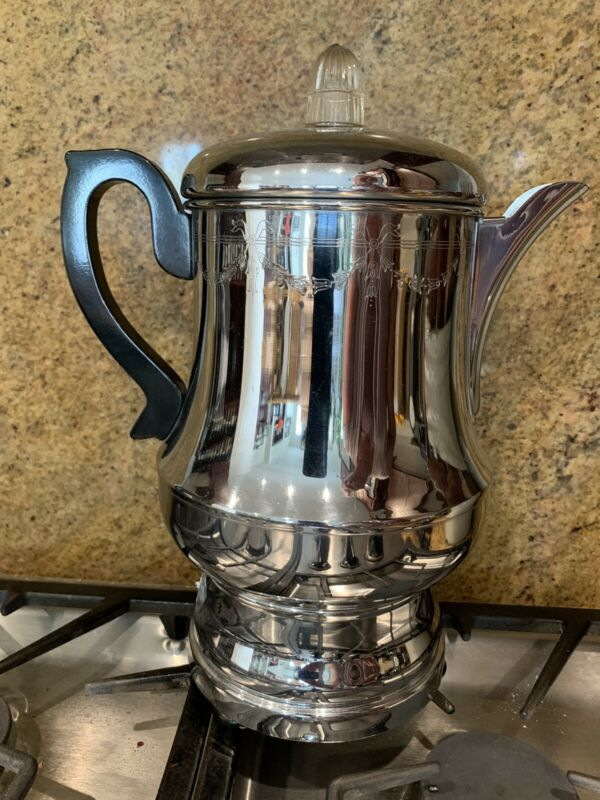 Vintage Art Deco Farberware Chrome Perculator #A-12 (12cup) Works
