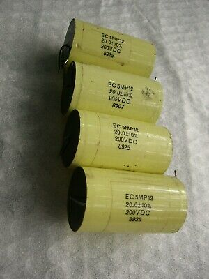 Lot Of 4 Ec 5mp12 Axial 20uf 200vdc Polypropylene Capacitors