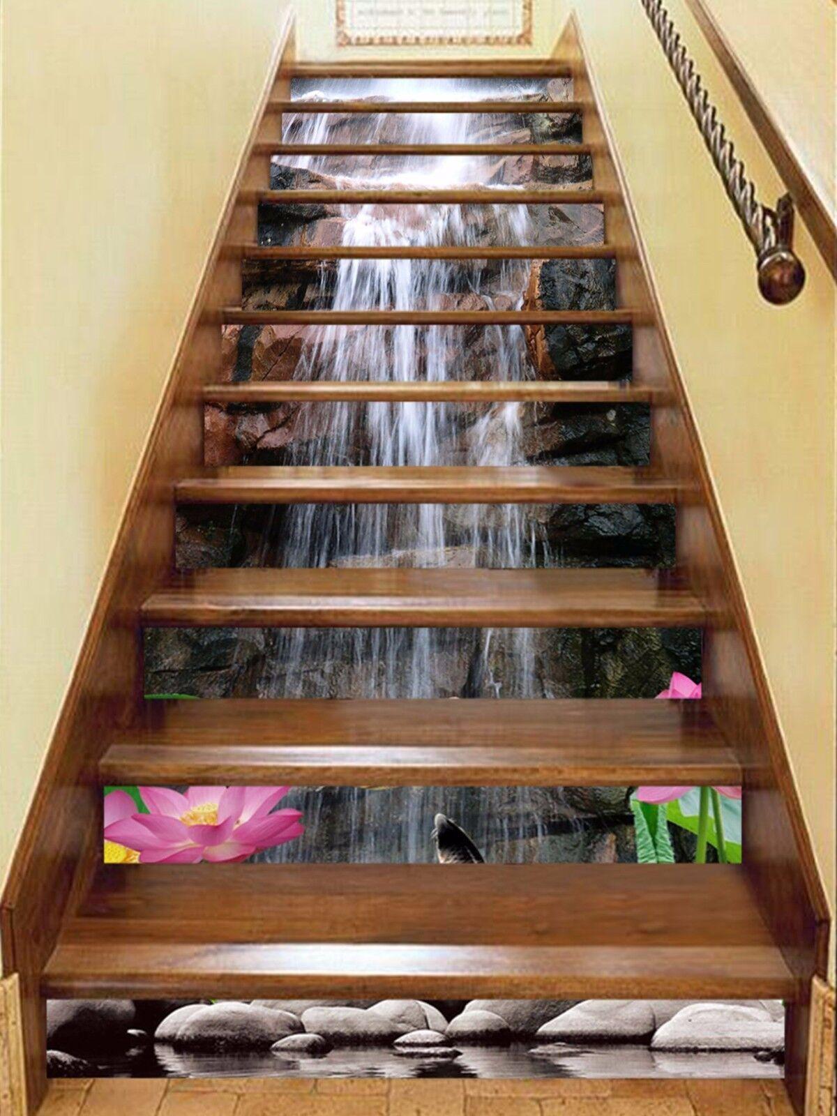3D Flowers Falls 85 Stair Risers Decoration Mural Vinyl Decal