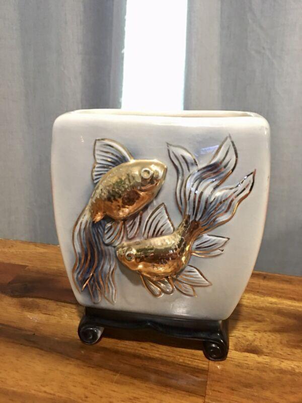"Vintage Japanese Porcelain Koi Goldfish Gold Red Porcelain 5"" Pottery Vase"