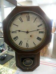 ANTIQUE SETH THOMAS SCHOOLHOUSE TIME PIECE WALL REGULATOR CLOCK 8-DAY