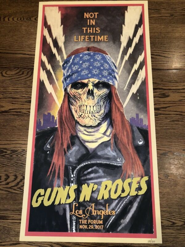 Guns N Roses Litho 🌴🌴Los Angeles Forum 11/29 2017 Axl Rose. 122/300.
