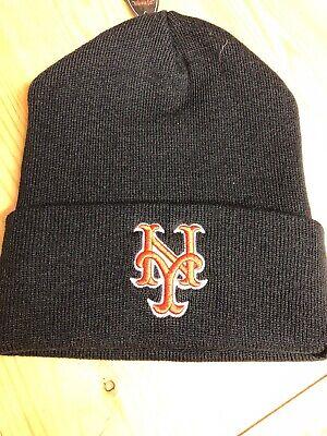 New York Mets Black Cuffed  Winter Hat Scull Cap Beanie Cuffed Hat - Mets Winter Hat