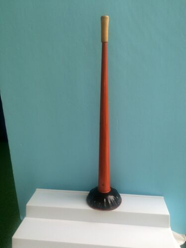 Vintage Halloween Tin Horn Noisemaker 18 Inch 1930s Wood Mouthpiece