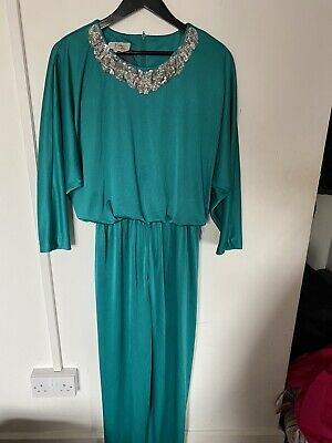 Vintage 1980's Green Sequin Trim Jumpsuit Size 12