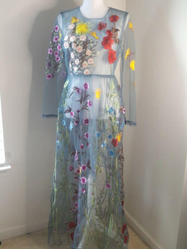 BLUEOXY Sheer Maxi Dress Blue Gray Floral Embroidery High Waist Long Sleeves XL