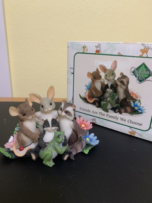 """Fitz and Floyd Charming Tails """"friends are family we choose"""" NIB 89/187"""