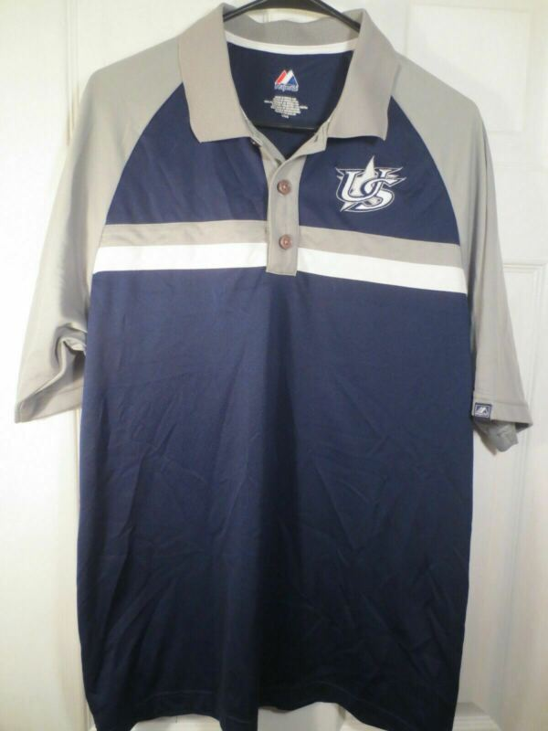 MAJESTIC COOLBASE TEAM USA BASEBALL AUTHENTIC BLUE GRAY GOLF POLO SHIRT SIZE L