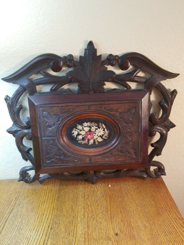 RARE Antique Ornate Hand Carved scroll leaves Wood Book Cover 1800-1901.