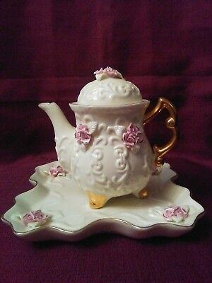 Beautiful Ivory Porcelain Teapot And Matching Vase