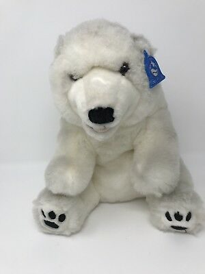 "Sea World Polar Bear Plush 13"" Stuffed Animal White Soft With Tags"
