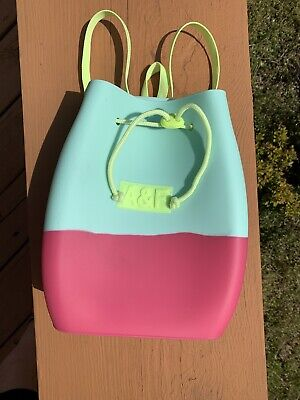 A&F ABERCROMBIE & FITCH Rubber Pink Teal Neon Backpack Purse Bag Girls Women