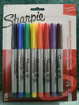 New Sharpie 37600 Permanent Markers Ultra Fine Point Classic Colors 8ct Free