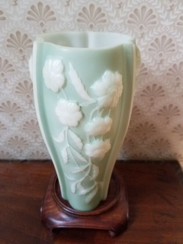 Vintage Phoenix Consolidated 3 Sided Glass Vase Green White Raised Floral