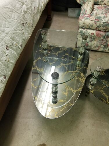 Vintage Hollywood Regency 3 Piece Coffee Table 2 End Tables/Side Tables/2 Tier - $599.99