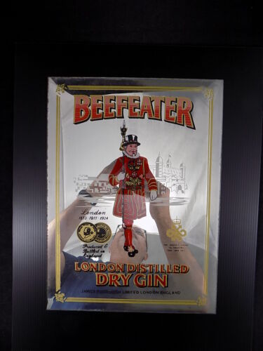 Vintage Beefeater Mirror Bar Sign London Distilled Dry Gin Wall Decor Man Cave