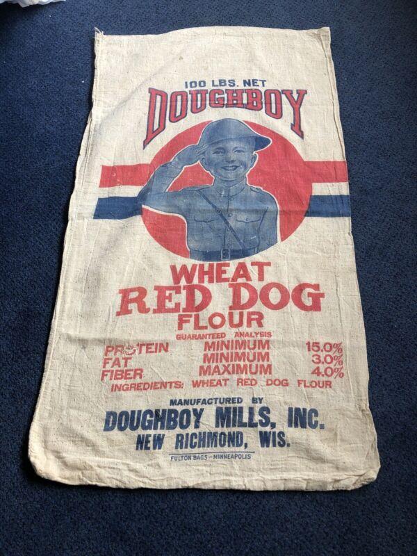 Rare Vintage Doughboy Flour Sack Bag Cloth Farm Feed Seed Mills