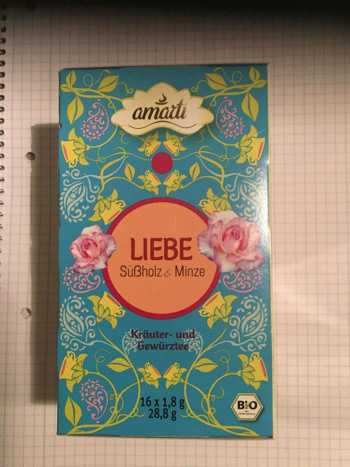 BIO Tee Süssholz Minze Kräuter- und Gewürzmischung von amarti 16 x 1,85 g Liebe