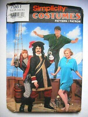 Simplicity Halloween Costume 7961 Captain Hook Peter Pan Tinkerbell Pirate UNCUT
