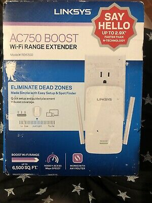 Linksys AC750 BOOST Wi-Fi RANGE EXTENDER Dual-Band Gigabit Repeater RE6300.