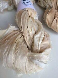 Sari silk ribbon, ivory, vintage, tea stained recycled ribbon. 5 yards. UK.