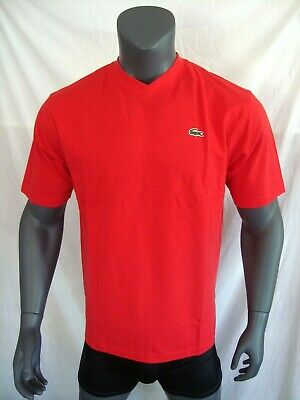 Lacoste SPORT Red Short Sleeve 100% Cotton V-Neck T-Shirt NWT Size M Oversized