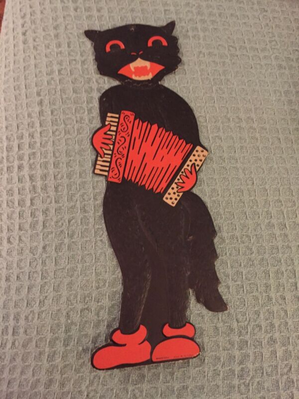 Large Vintage Die Cut Cardboard Music Halloween Cat