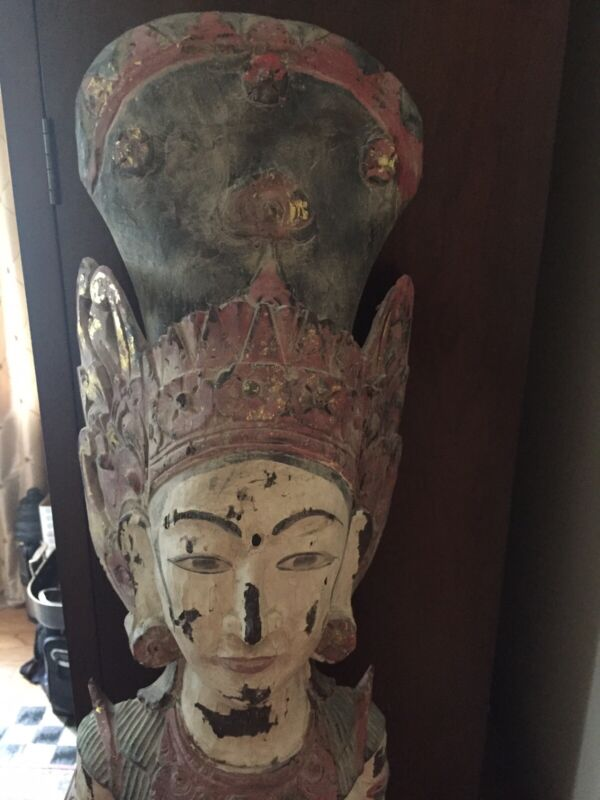 "Vintage Goddess Wooden Statue 60"" Tall"
