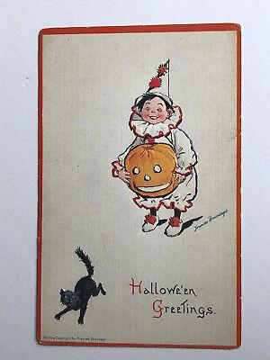 FRANCES BRUNDAGE VINTAGE Clown & pumpkin BLACK CAT HALLOWEEN POSTCARD