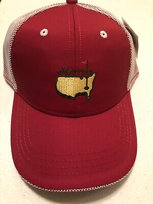 Official 2019 Masters RED and WHITE PERFORMANCE Trucker Golf Hat!  Flag Pin