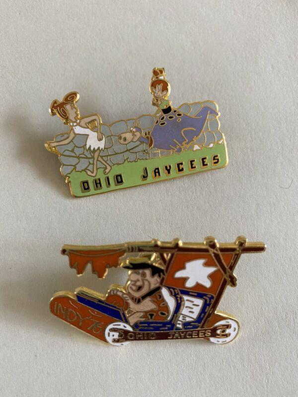 2 OHIO Jaycee  Flintstones Fred Wilma Pebbles Dino  Pins  Vintage 1976