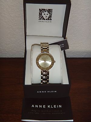 ANNE KLEIN Women's Watch DIAMOND ACCENT Gold Tone 36mm Gold Dial AK/2080CHGB NEW