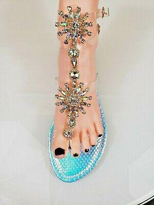 Bella Luna Flong 03 Rhinestone Jeweled Flat Summer Sandal Shoe Pink Hologram 03 Jeweled Sandals