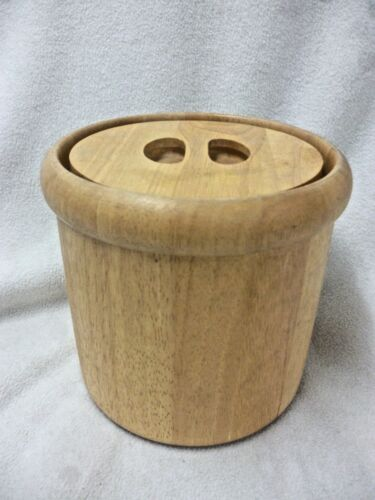 VINTAGE WOOD ICE BUCKET MID CENTURY DESIGN WITH 2 INVERTED HOLES FOR HANDLES