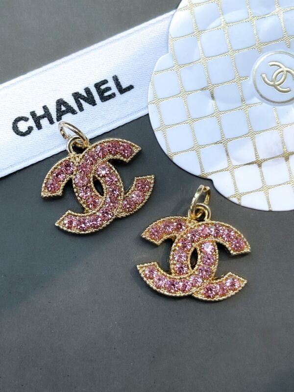 Chanel Stamped  Gold Rhinestone Zipper Pull Charm, 22mm