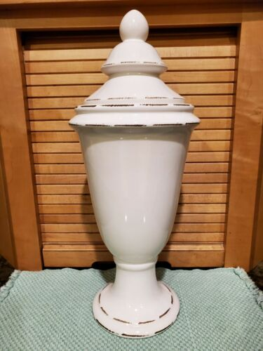 """WHITE CERAMIC LARGE APOTHECARY JAR for HOME DECOR 16"""" TALL preown"""
