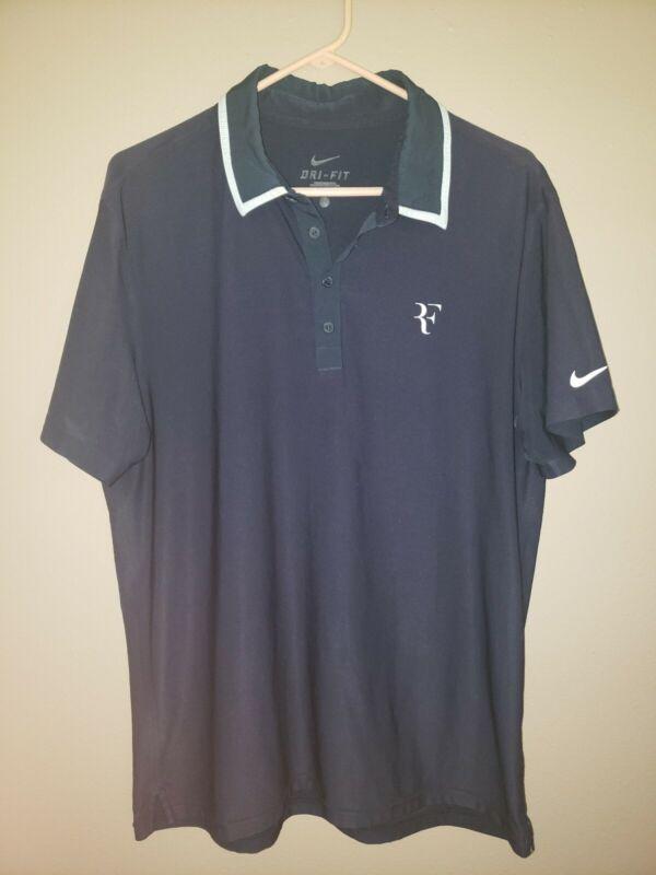Nike RF Roger Federer Dri Fit 2010 US Open Mens Tennis Polo Shirt Large