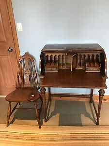 Antique Mahogany roll- top desk with chair
